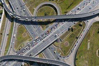 Ariel view of highway interchange