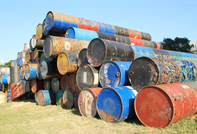 Stack of rusted barrels, Horizon Environmental Services Hazardous Material Services