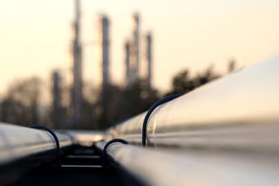 Close up of gas pipeline connection at oil refinery, Horizon Environmental NEPA Compliance Services